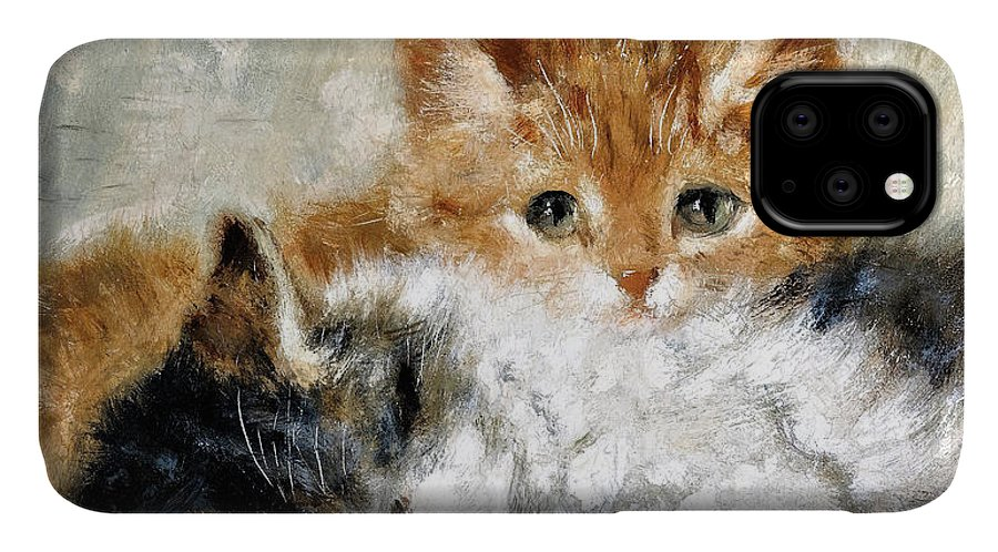Sleeping Kitten IPhone Case featuring the painting Sleeping kitten - Digital Remastered Edition by Henriette Ronner-Knip