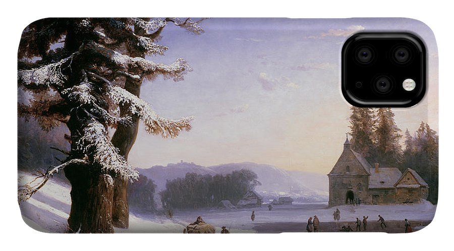 Wagon IPhone Case featuring the painting Snow Scene In The South Of France, 1868 by Josephine Bowes