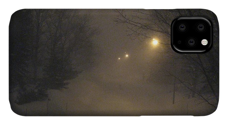 Snow IPhone Case featuring the photograph Snowy Night by Mary Ellen Mueller Legault