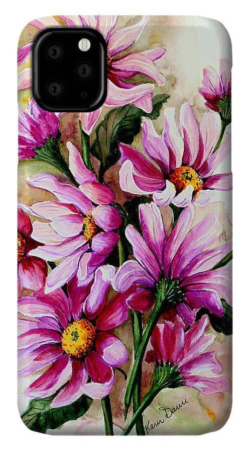 Pink Daisy Floral Painting Flower Painting Botanical Painting Bloom Painting Greeting Card Painting IPhone Case featuring the painting So Pink by Karin Dawn Kelshall- Best