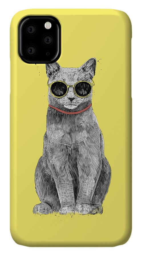 Cat IPhone Case featuring the drawing Summer Cat by Balazs Solti