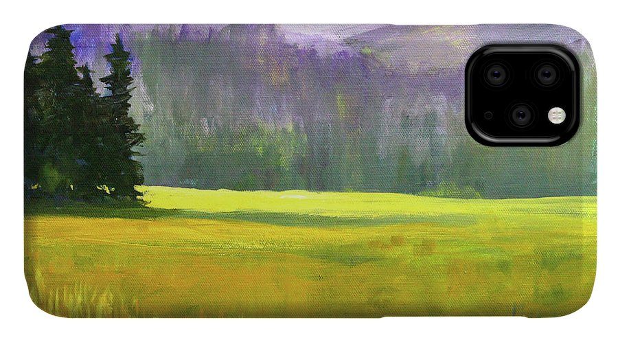 Oregon Landscape IPhone Case featuring the painting Sunny Autumn Landscape by Nancy Merkle