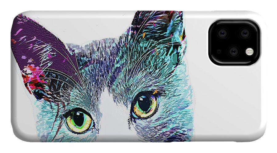 Cat IPhone Case featuring the digital art Sweet Cat Lady by Trindira A
