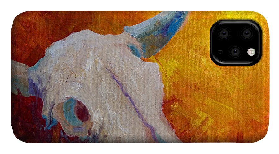 Longhorn IPhone Case featuring the painting Texas Longhorn Skull by Marion Rose
