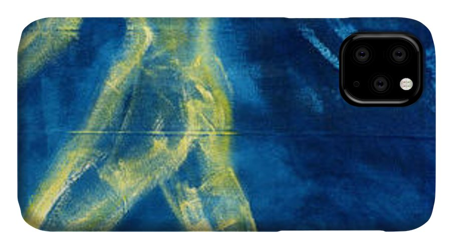 Figure IPhone Case featuring the painting The glow of departure by Ingrid Torjesen