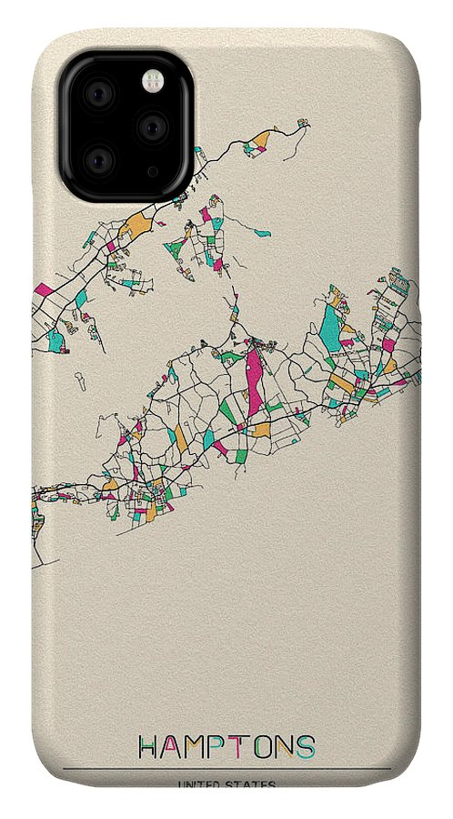 Hamptons IPhone Case featuring the drawing The Hamptons, Long Island City Map by Inspirowl Design