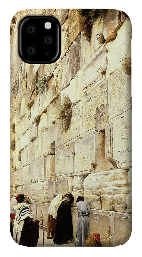 Wailing Wall IPhone Case featuring the painting The Wailing Wall, Jerusalem, 1904 by Gustave Bauernfeind
