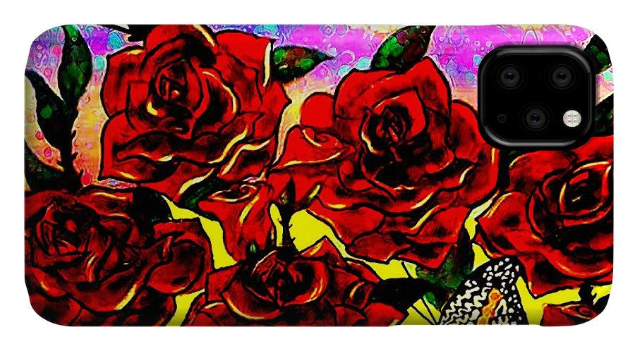 Rose IPhone Case featuring the painting This Rose Is Red by Kim Johnson