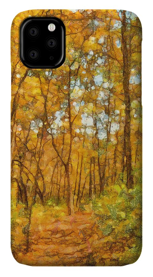 Through The Woods IPhone Case featuring the painting Through The Autumn Forest by Dan Sproul