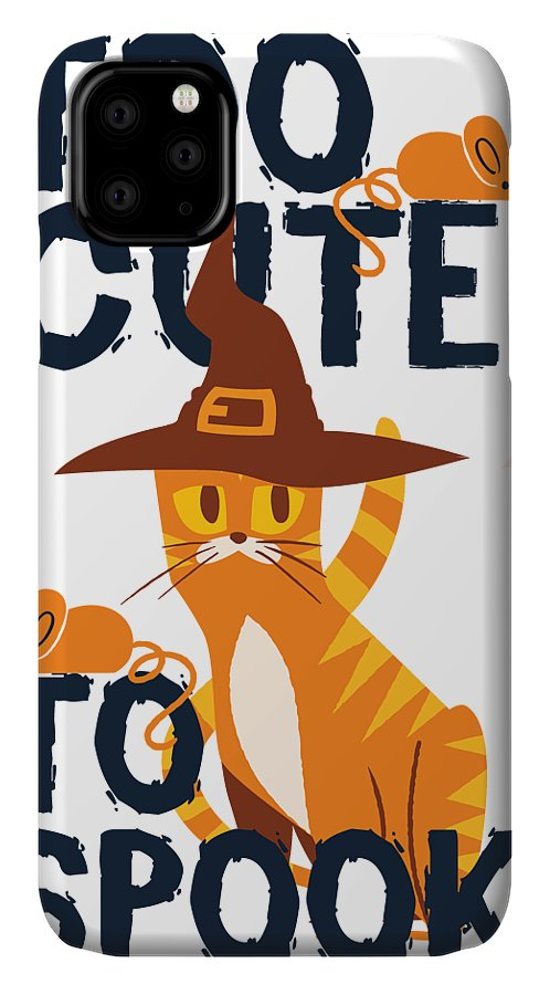 Halloween IPhone Case featuring the digital art Too Cute To Spook Funny Halloween Cat Witch Kitty by Passion Loft