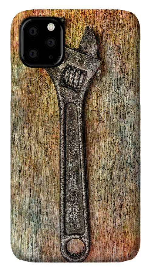 Tool On Rusty Metal IPhone Case featuring the digital art Tool on Rusty Metal Two by Randy Steele