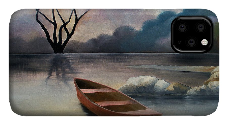 Duck IPhone Case featuring the painting Tranquility by Sergey Bezhinets