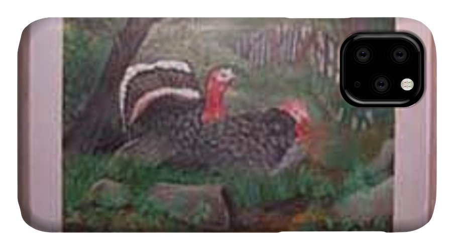 Rick Huotari IPhone Case featuring the painting Turkeys by Rick Huotari