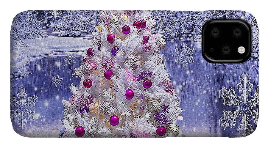 White Christmas IPhone Case featuring the digital art White Christmas Tree by Nicole Anderson