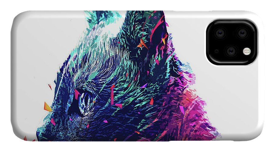 IPhone Case featuring the digital art Wolf Cat by Trindira A