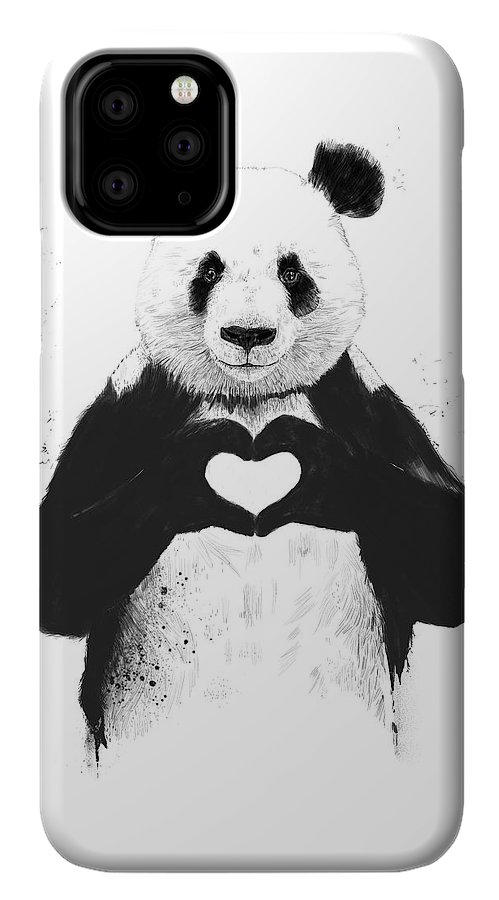 Panda IPhone 11 Pro Case featuring the mixed media All You Need Is Love by Balazs Solti