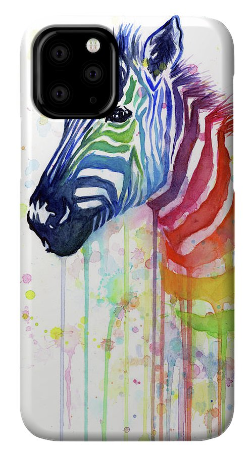 Rainbow IPhone 11 Pro Case featuring the painting Rainbow Zebra - Ode To Fruit Stripes by Olga Shvartsur