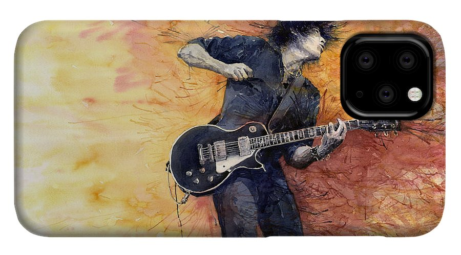 Figurativ IPhone 11 Pro Case featuring the painting Jazz Rock Guitarist Stone Temple Pilots by Yuriy Shevchuk