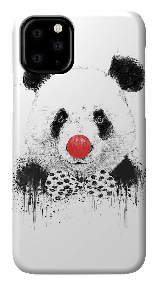Panda IPhone 11 Pro Case featuring the mixed media Clown Panda by Balazs Solti