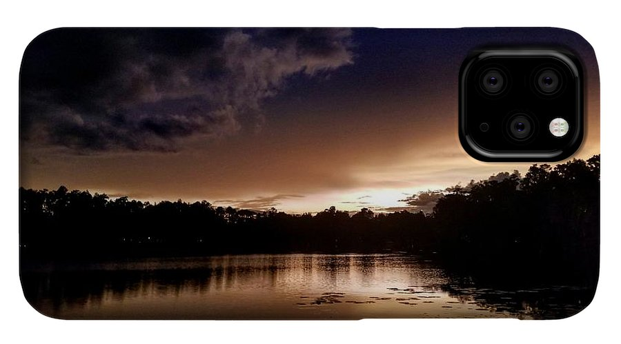 Sunset IPhone 11 Pro Case featuring the photograph Dark Reflections by Shena Sanders