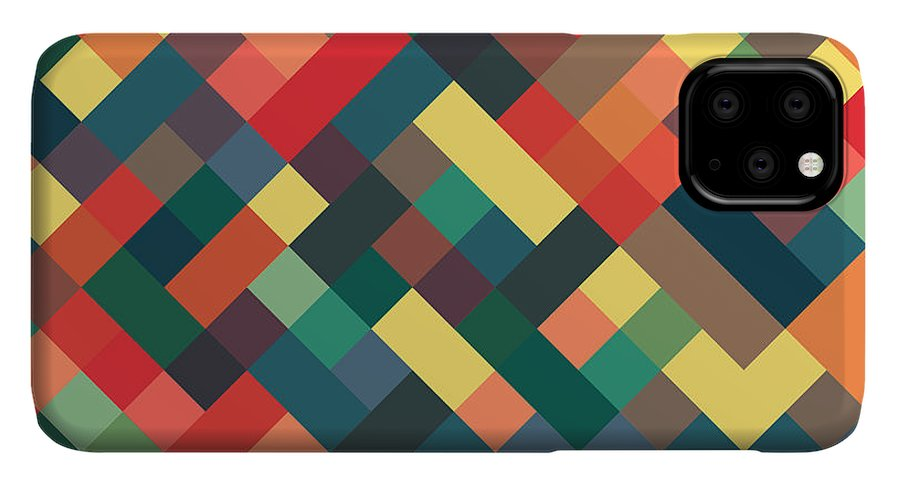 Abstract IPhone 11 Pro Max Case featuring the digital art Pixel Art 4 by Mike Taylor