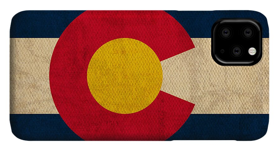 Colorado State Flag Art On Worn Canvas IPhone 11 Pro Max Case featuring the mixed media Colorado State Flag Art On Worn Canvas by Design Turnpike