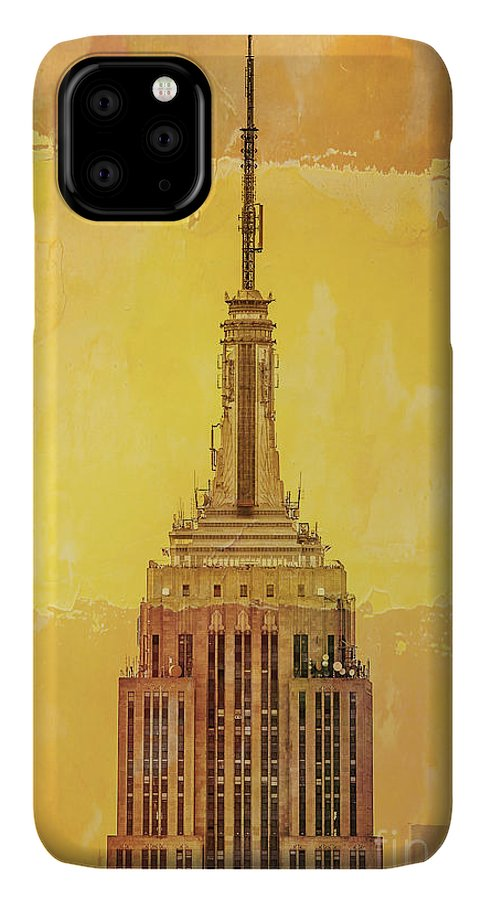 New York IPhone 11 Pro Max Case featuring the digital art Empire State Building 4 by Az Jackson