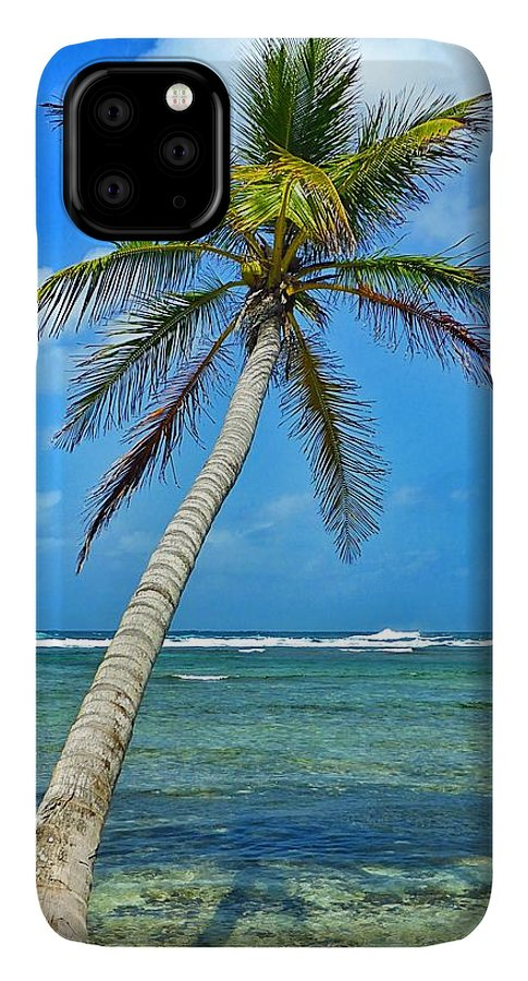 Photography IPhone 11 Pro Max Case featuring the photograph Island Palm Tree In San Blas Islands by Michelle Eshleman
