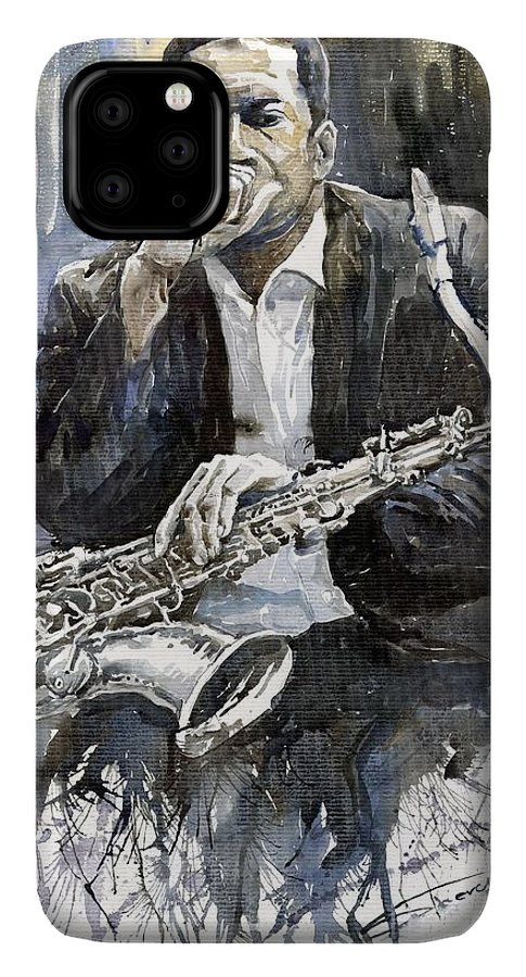 Jazz IPhone 11 Pro Max Case featuring the painting Jazz Saxophonist John Coltrane Yellow by Yuriy Shevchuk