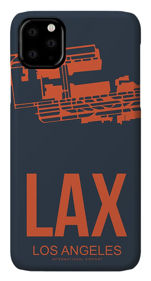 Los Angeles IPhone 11 Pro Max Case featuring the digital art Lax Airport Poster 3 by Naxart Studio