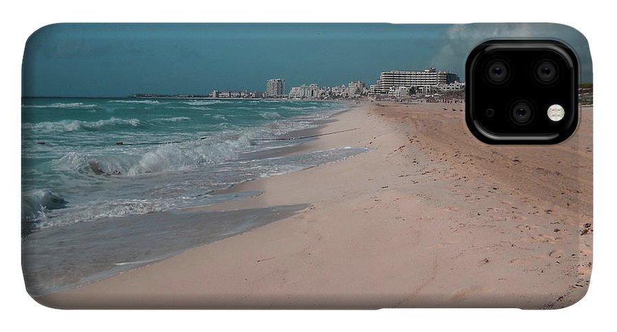Beach IPhone 11 Pro Max Case featuring the digital art Beautiful beach in Cancun, Mexico by Nicolas Gabriel Gonzalez