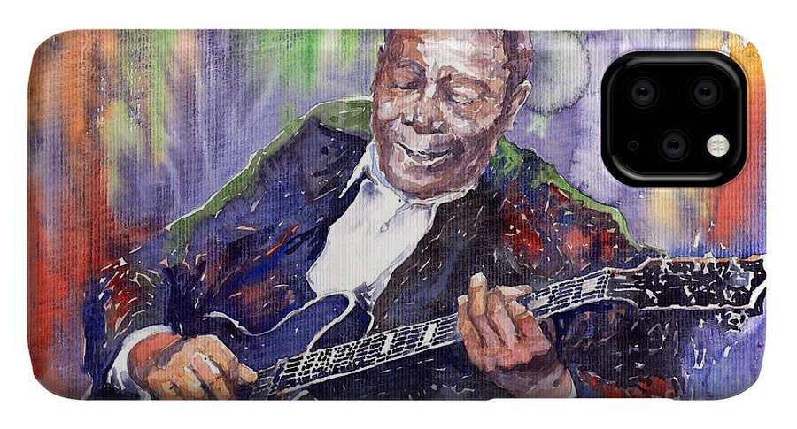 Jazz IPhone 11 Pro Max Case featuring the painting Jazz B B King 06 by Yuriy Shevchuk