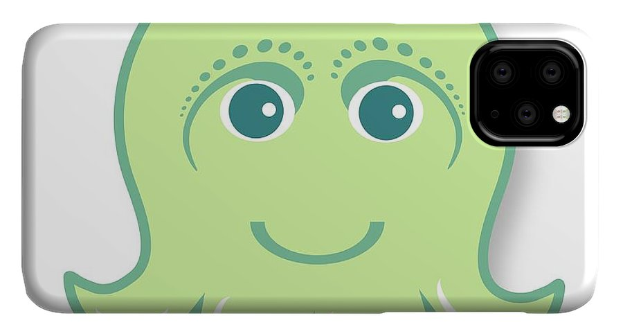 Little Octopus IPhone 11 Pro Max Case featuring the digital art Little cute green octopus by Ainnion