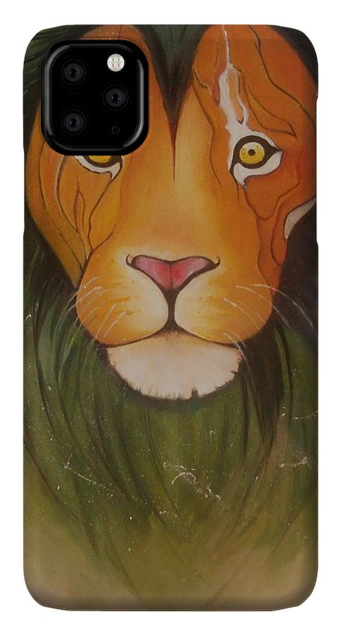 #lion #oilpainting #animal #colorful IPhone 11 Pro Max Case featuring the painting LovelyLion by Anne Sue