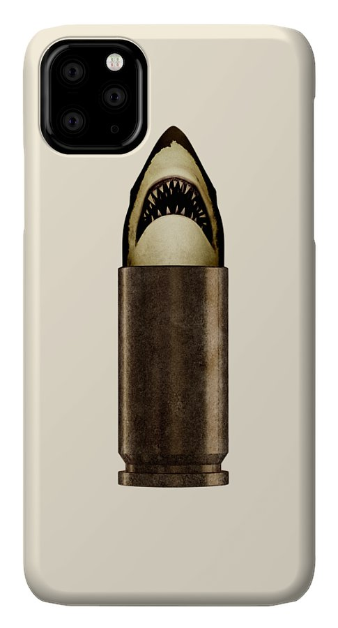 Bullet IPhone 11 Pro Max Case featuring the digital art Shell Shark by Nicholas Ely