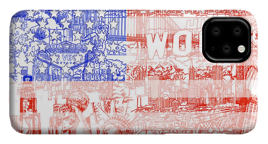 Usa Flag IPhone 11 Pro Max Case featuring the painting Usa Flag 1 by Bekim M