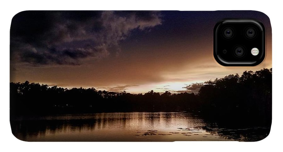 Sunset IPhone 11 Pro Max Case featuring the photograph Dark Reflections by Shena Sanders