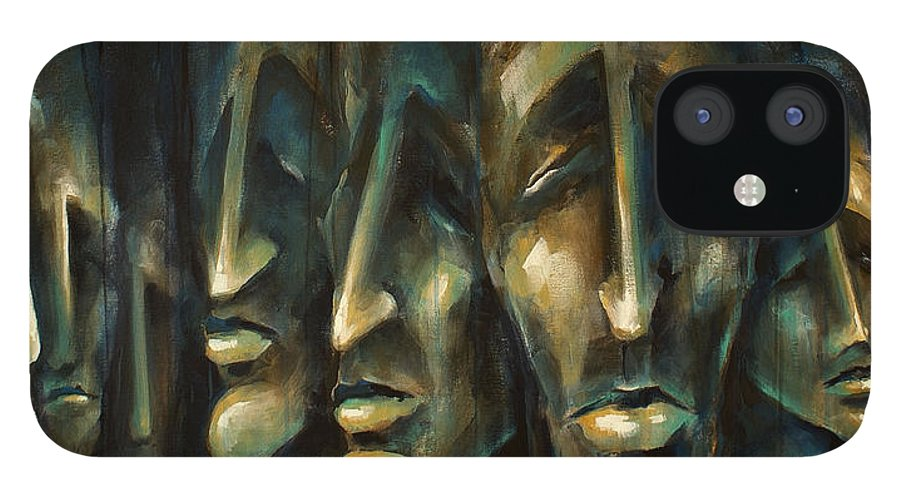 Expressionist iPhone 12 Case featuring the painting ' Jury of Eight ' by Michael Lang