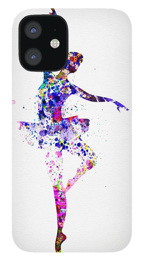 Ballet IPhone 12 Case featuring the painting Ballerina Dancing Watercolor 2 by Naxart Studio