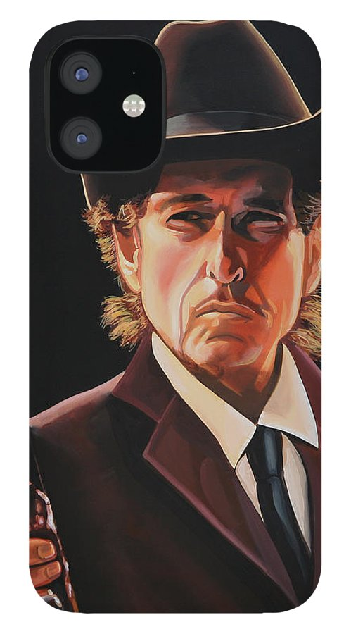 Bob Dylan IPhone 12 Case featuring the painting Bob Dylan 2 by Paul Meijering