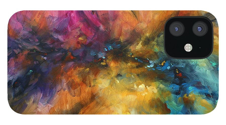 Abstract IPhone 12 Case featuring the painting ' Dreamscape' by Michael Lang