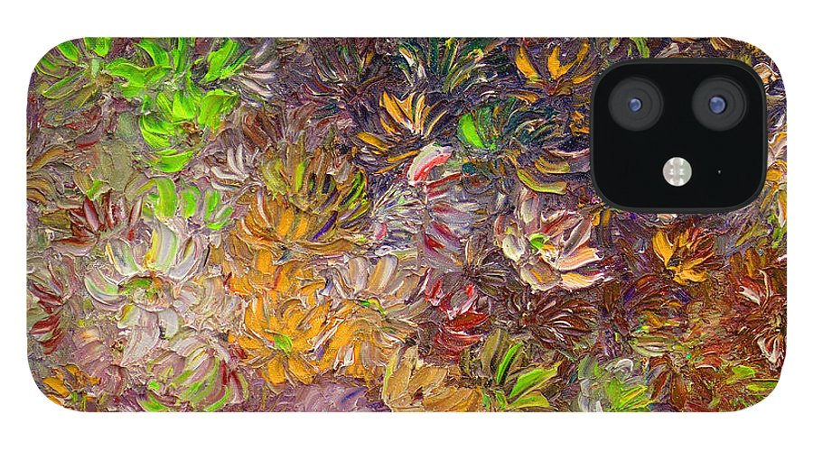 Green Abstract IPhone 12 Case featuring the painting My Pretty Green Pallet by Karin Dawn Kelshall- Best