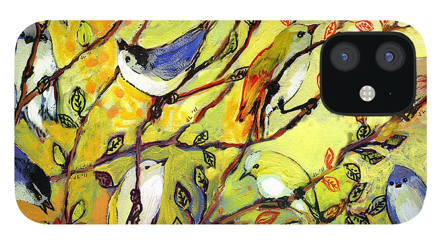 Bird IPhone 12 Case featuring the painting 16 Birds by Jennifer Lommers