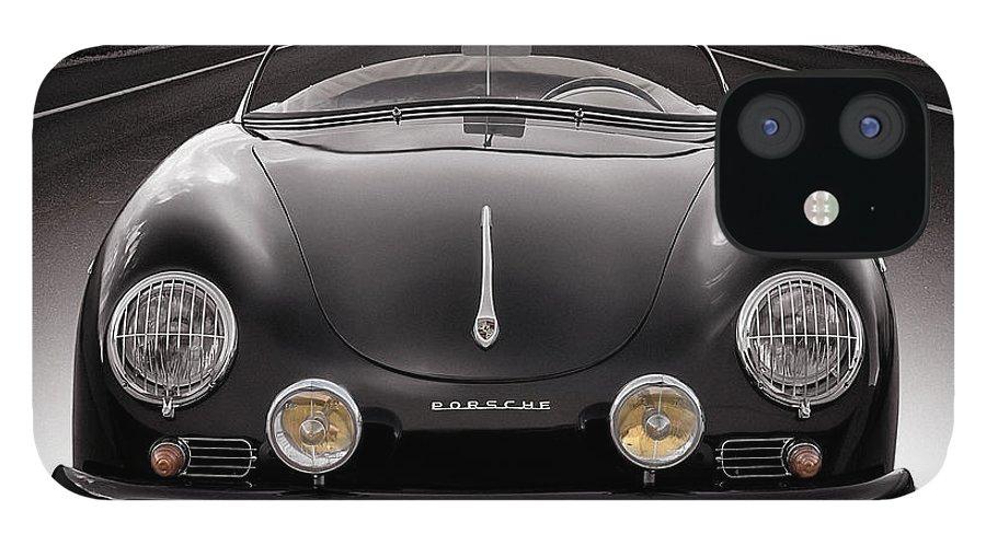 Porsche IPhone 12 Case featuring the photograph Black Porsche Speedster by Douglas Pittman