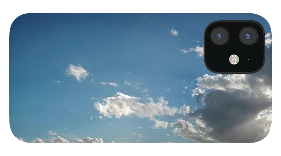 Panoramic iPhone 12 Case featuring the digital art Blue Sky With Cumulus Clouds, Artwork by Leonello Calvetti