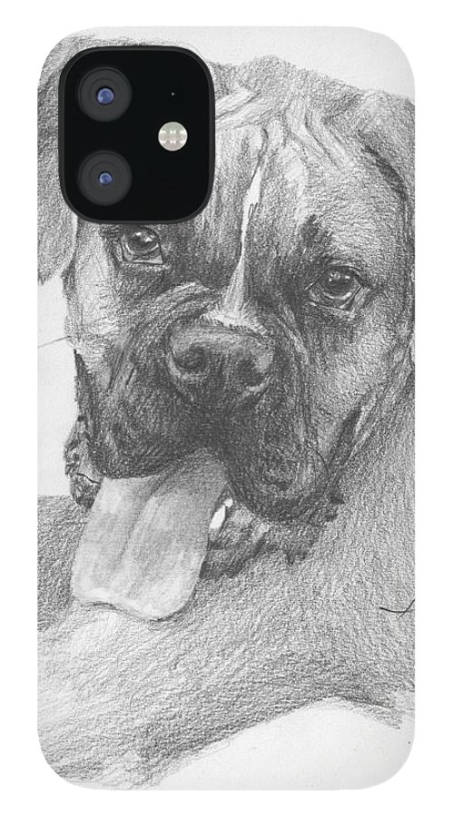 <a Href=http://miketheuer.com Target =_blank>www.miketheuer.com</a> Boxer Dog Pencil Portrait IPhone 12 Case featuring the drawing Boxer Dog Pencil Portrait by Mike Theuer