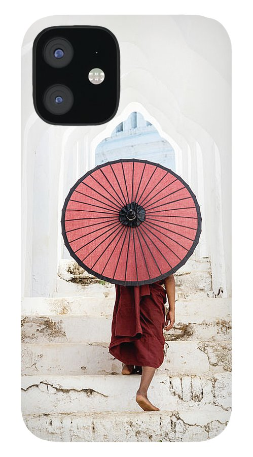 Steps IPhone 12 Case featuring the photograph Buddhist Monk Walking Along Temple by Martin Puddy