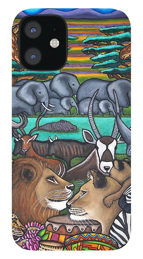 Africa IPhone 12 Case featuring the painting Colours of Africa by Lisa Lorenz