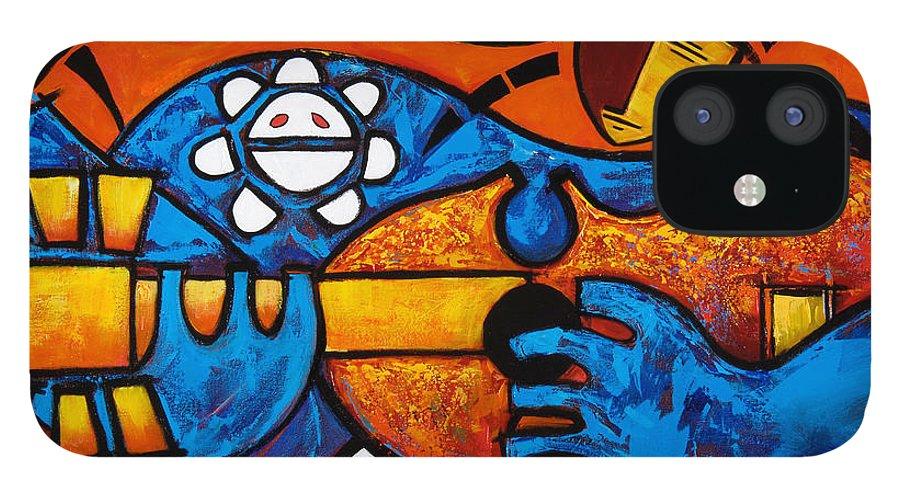 Puerto Rico iPhone 12 Case featuring the painting Cuatro en grande by Oscar Ortiz