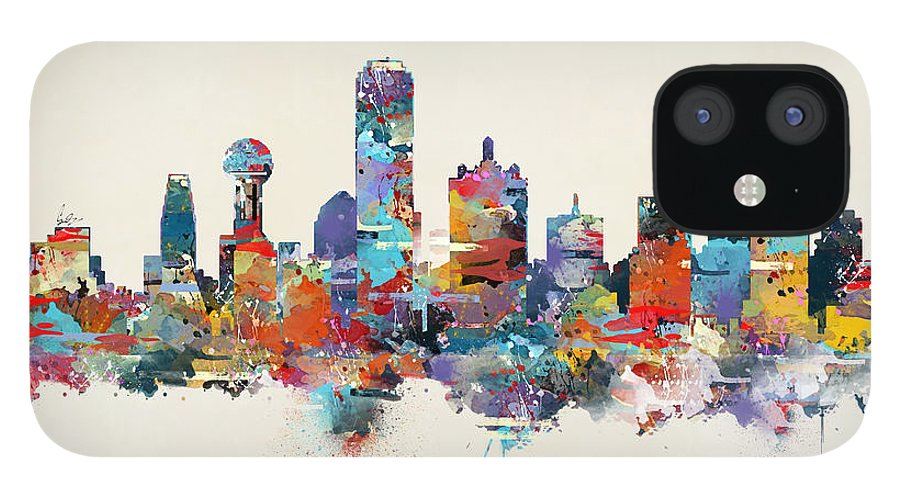 Dallas City Skyline IPhone 12 Case featuring the painting Dallas Texas Skyline by Bri Buckley